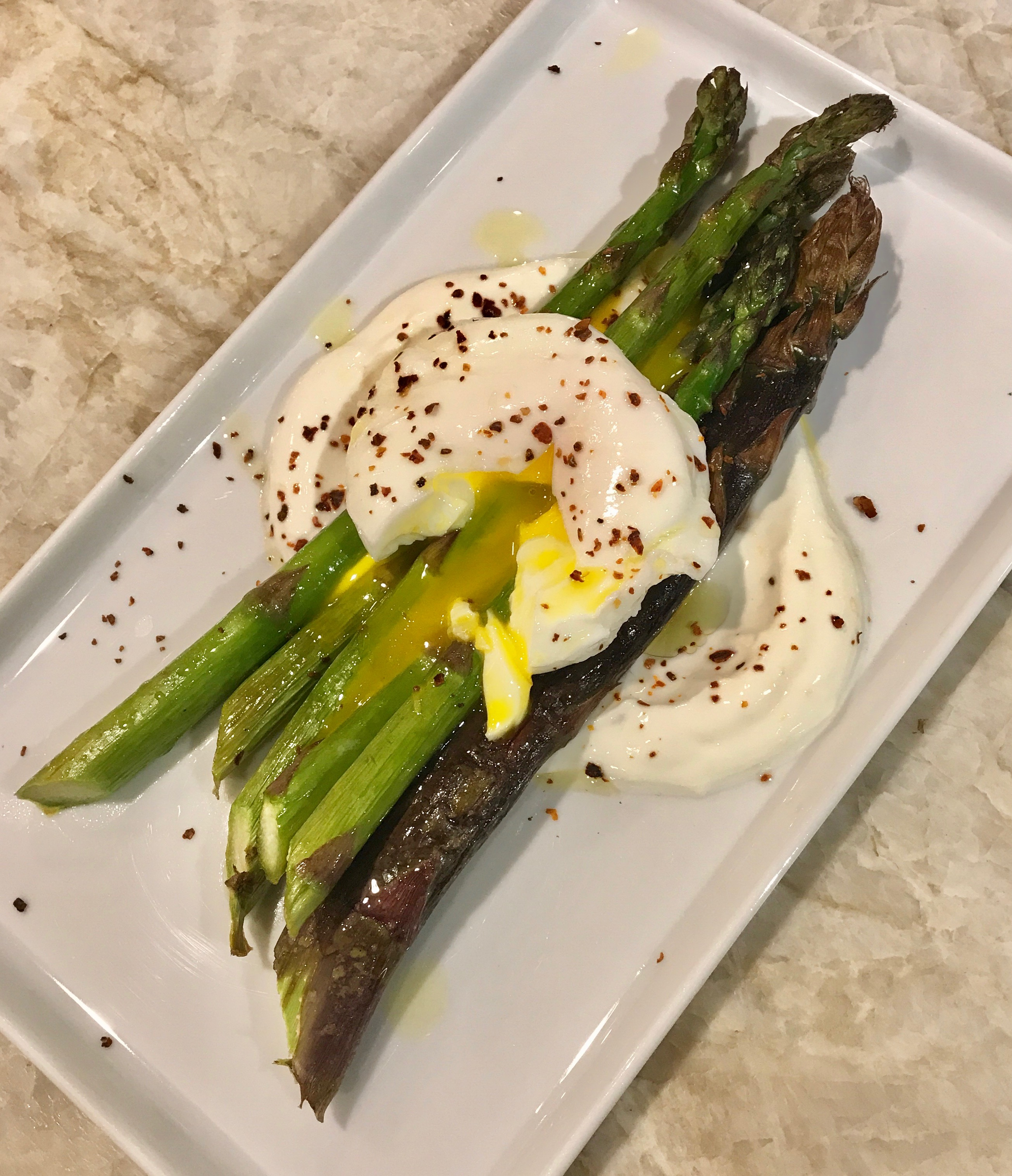Roasted Asparagus with Preserved Lemon Yogurt Sauce and Poached Eggs