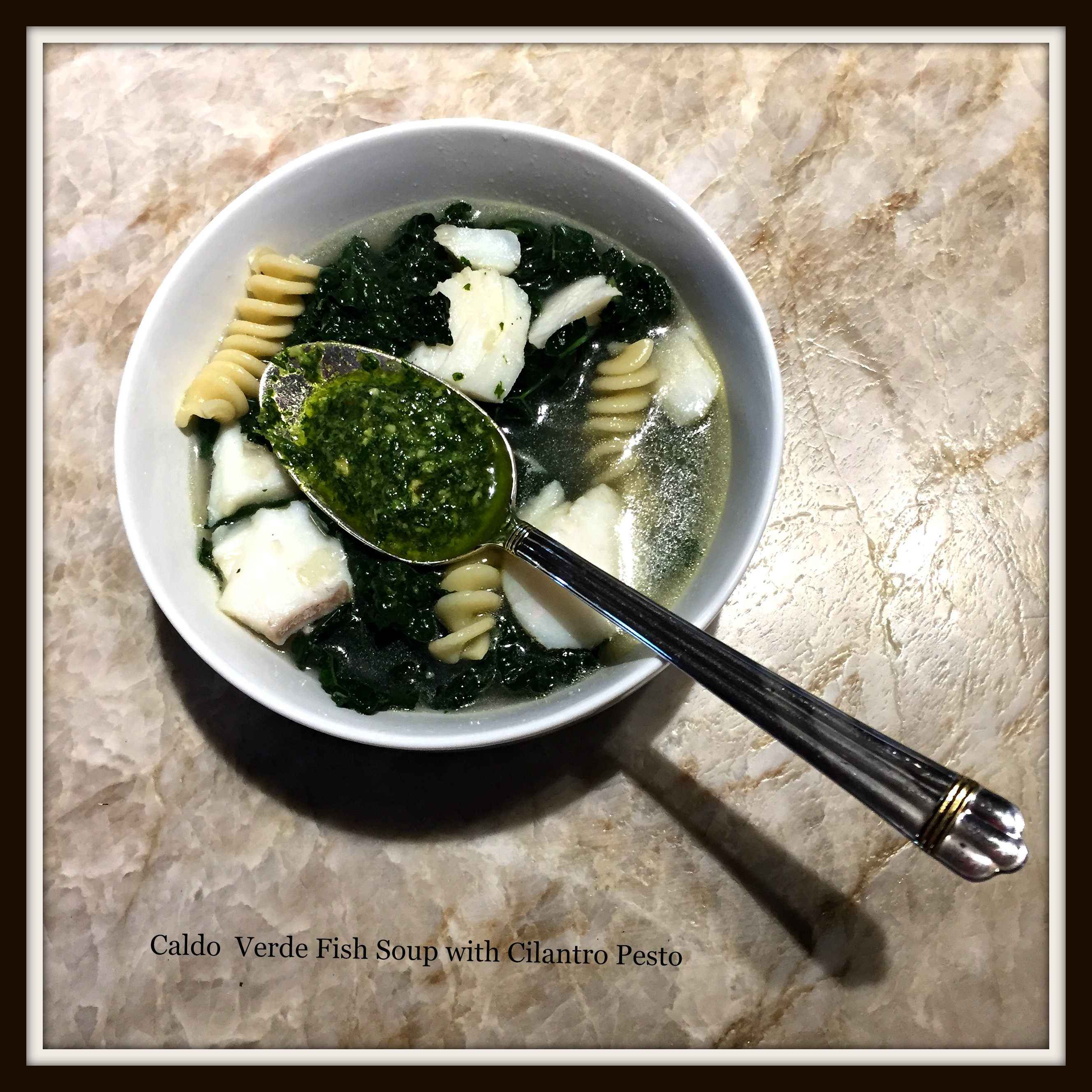 Caldo Verde with Fish and Cilantro Pesto