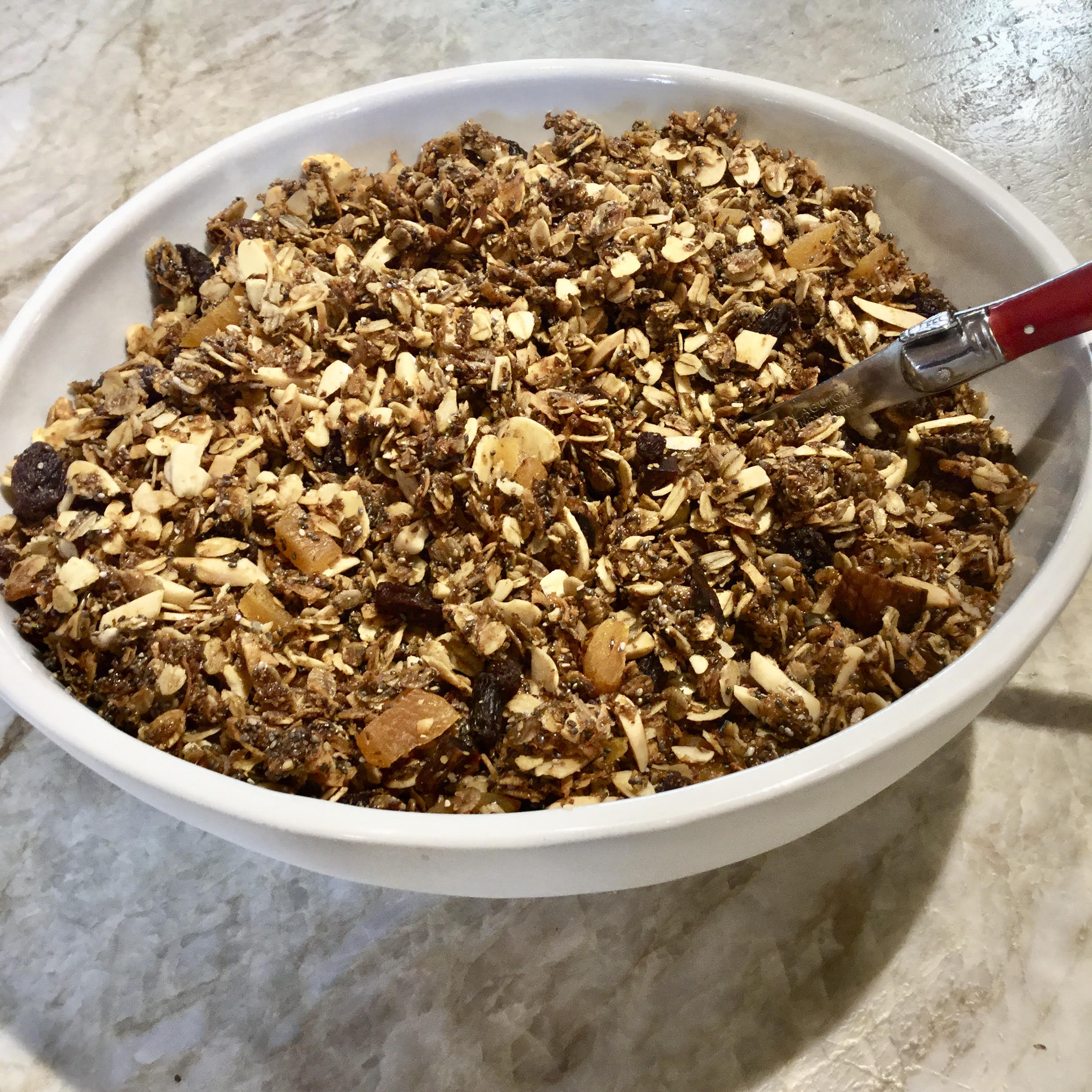 Granola with oats, rye flakes, raisins and apricots