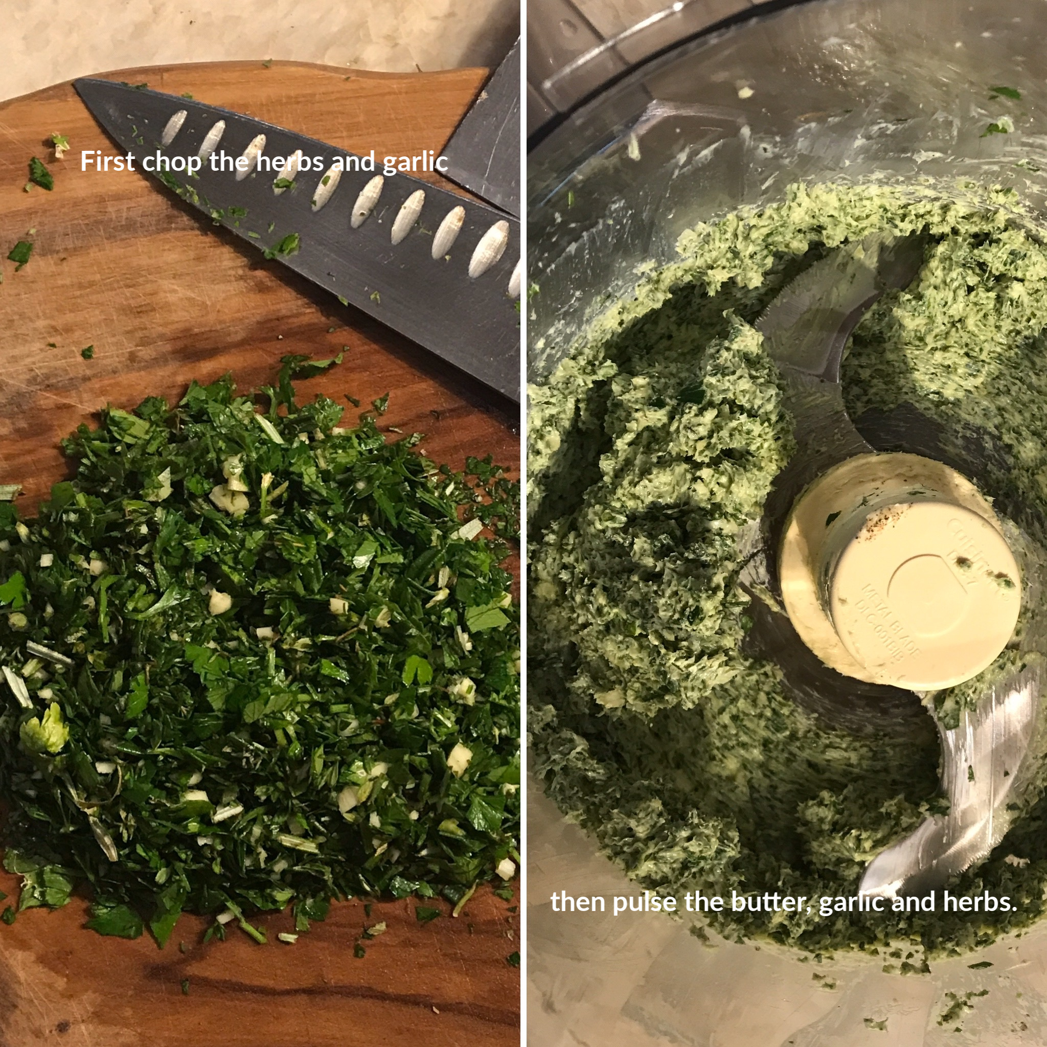 Preparing the garlic herb butter.