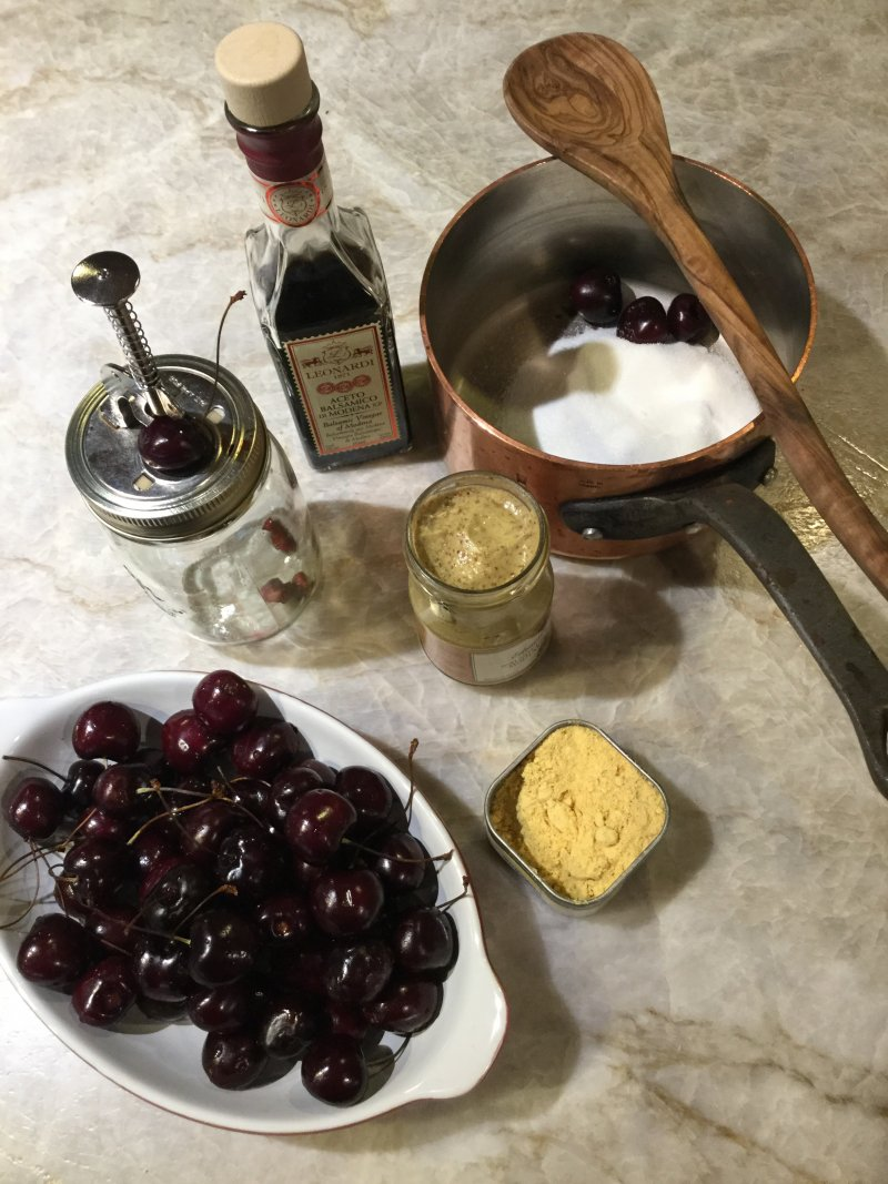 Mise en place for cherry mostarda