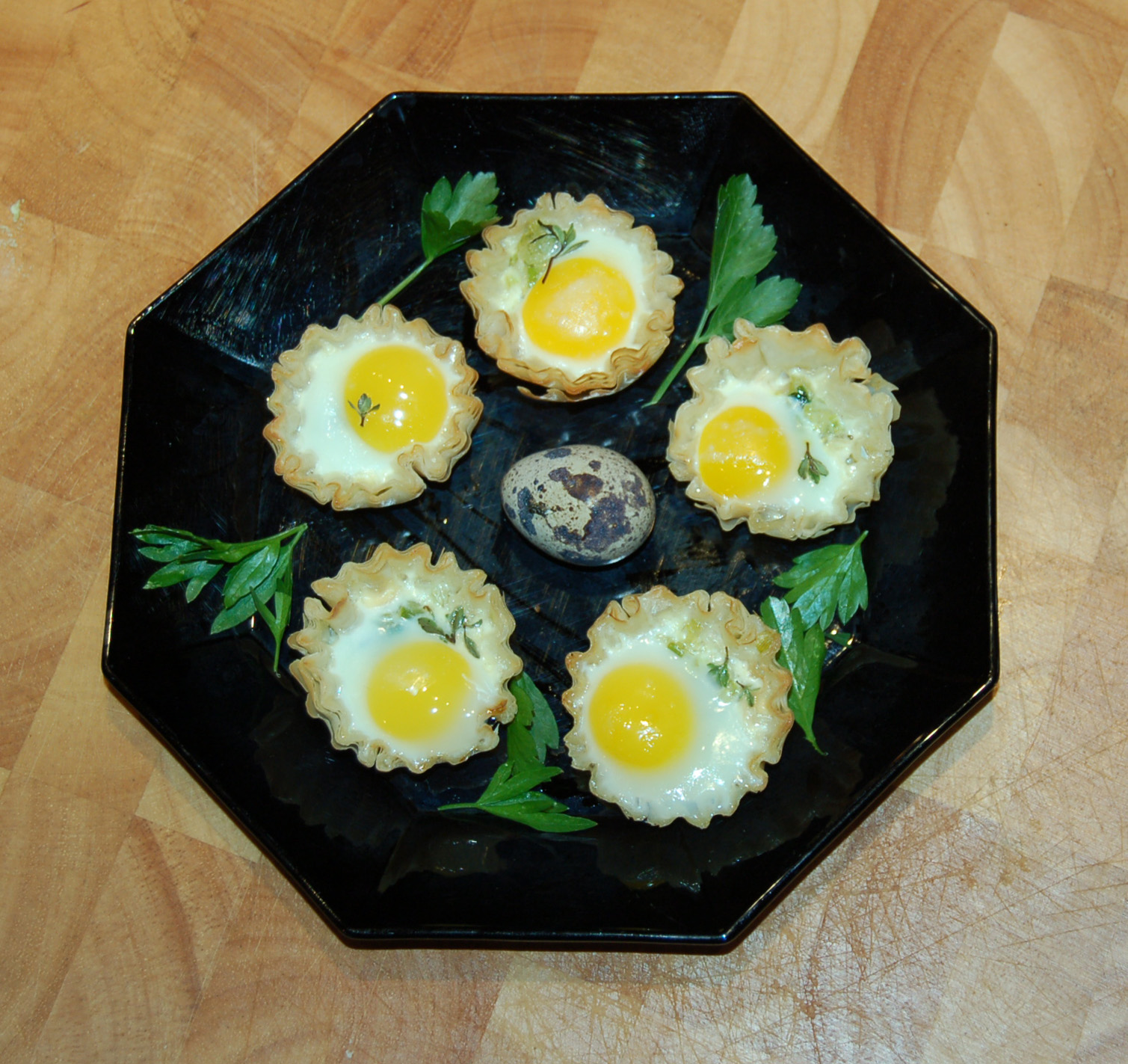 Quail Eggs in Phyllo Cups with Leeks and Fresh Thyme