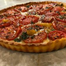 French Heirloom Tomato and Cheese Tart with Fresh Herbs