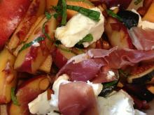 Fruit salad with mascarpone and prosciutto