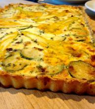 Zucchini Blossom Tart with Polenta Crust