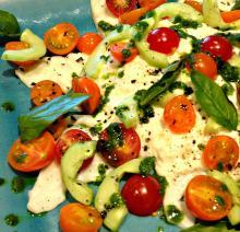 Burrata Salad Garnished with Basil Oil-Summer