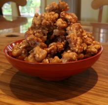 Walnuts Candied with Whiskey Smoked Brown Sugar