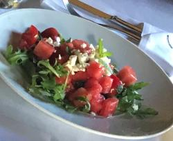 Watermelon salad with feta and lime honey vinegrette